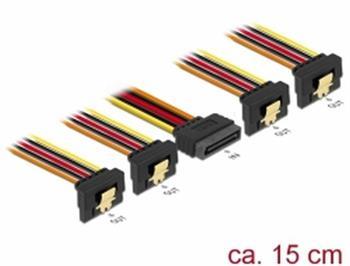 Delock Kabel SATA 15 pin napájecí samec s aretací > SATA 15 pin napájecí samice 4 x dolů 15 cm