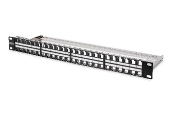 Digitus Modular Patch Panel, shielded 48-port, label field, 1U, rack mount, color black RAL 9005