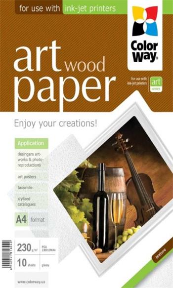 "COLORWAY fotopapír/ ART glossy texture ""wood"" 230g/m2, A4/ 10 kusů"
