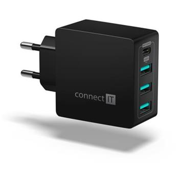 CONNECT IT Fast Charge nabíjecí adaptér 3xUSB-A + 1xUSB-C, 4,8A, černý