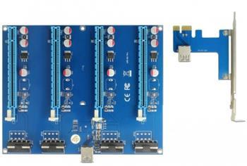 Delock Riser Card PCI Express x1 > 4 x PCIe x16 s 60 cm USB kabelem