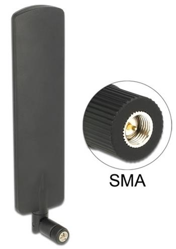 Delock LTE anténa SMA samec 2 dBi všesměrová s otočným kloubem černý