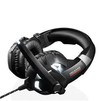 Modecom VOLCANO SHIELD headset, herní sluchátka s mikrofonem, 2,2m kabel, 3,5mm jack, USB, černá, LED podsvícení