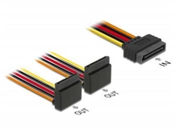 Delock Kabel SATA 15 pin napájecí samec s aretací > 2 x SATA 15 pin napájecí samice nahoru 15 cm
