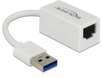 Delock Adaptér Super Speed USB (USB 3.1 Gen 1) s USB Typ-A samec > Gigabit LAN 10/100/1000 Mbps kompaktní bílá