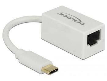 Delock Adaptér Super Speed USB (USB 3.1 Gen 1) s USB Type-C™ samec > Gigabit LAN 10/100/1000 Mbps kompaktní bílá