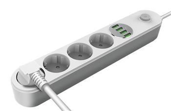 COLORWAY Prodlužovací napájecí přívod/ 4x 220V výstup/ 4x USB 5V / kabel 2m