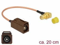 Delock Anténní kabel FAKRA F samice > SMA 90° samice pro instalaci RG-316 20 cm