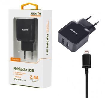 Aligator Nabíječka pro iPh 5/6/7/8 s 2xUSB výstupem 2,4A, Turbo charge, černá