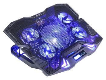 EVOLVEO Ania 5, chladicí podstavec pro notebook, modré podsvícení, polohovatelný, reg.ot., display