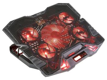 EVOLVEO Ania 5R, chladicí podstavec pro notebook, červené podsvícení, polohovatelný, reg.ot., display