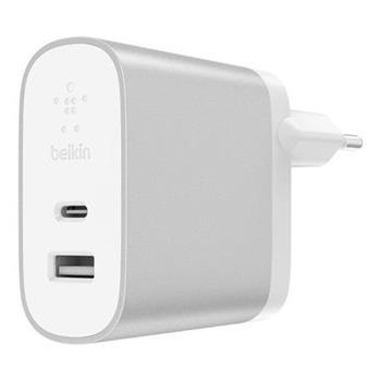 Belkin USB-C + USB-A 230V nabíječka 5V/3A,27W, Power Delivery stříbrná