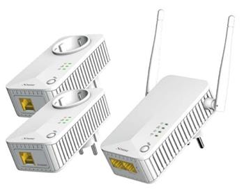 STRONG sada 3 adaptérů Powerline WF 500 DUO FR/ Powerline 500 Mbit/s/ Wi-Fi 300 Mbit/s/ 2x LAN/ bílý