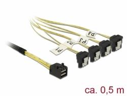 Delock Kabel Mini SAS HD SFF-8643 > 4 x SATA 7 Pin pravoúhlý 0,5 m