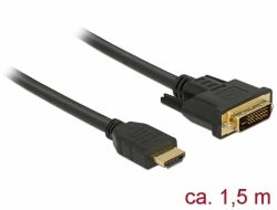Delock Kabel HDMI na DVI 24+1 obousměrný 1,5 m