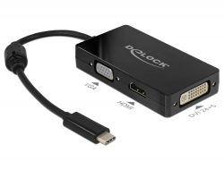 Delock Adapter USB Type-C™ Stecker > VGA / HDMI / DVI Buchse schwarz