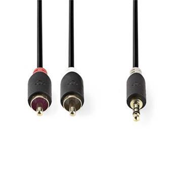 Nedis CABW22200AT05 - Stereofonní Audio Kabel | 3,5mm Zástrčka - 2x RCA Zástrčka | 0,5 m | Antracit
