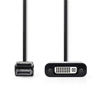 Nedis CCGP37250BK02 - DisplayPort – DVI Kabel | DisplayPort Zástrčka - DVI-D 24+1-Pin Zásuvka | 0,2 m | Černá barva