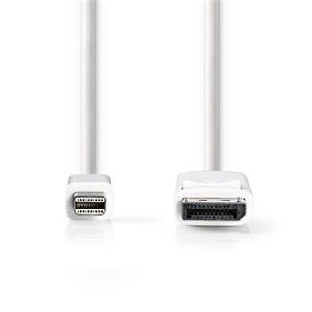 Nedis CCGP37400WT20 - Mini DisplayPort – DisplayPort Kabel | Mini DisplayPort Zástrčka - DisplayPort Zástrčka | 2 m | Bílá barva