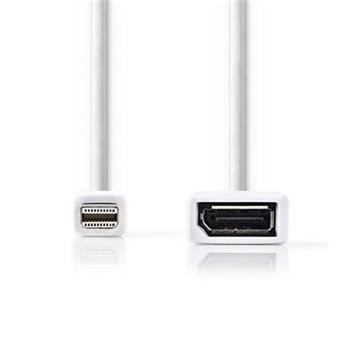 Nedis CCGP37450WT02 - Mini DisplayPort – DisplayPort Kabel | Mini DisplayPort Zástrčka - DisplayPort Zásuvka | 0,2 m | Bílá barva