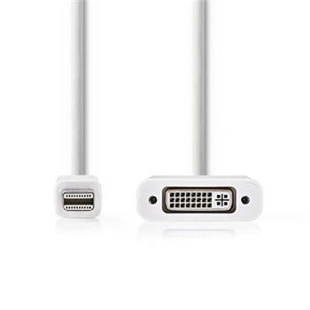 Nedis CCGP37750WT02 - Mini DisplayPort – DVI Kabel | Mini DisplayPort Zástrčka - DVI-D 24+1-Pin Zásuvka | 0,2 m | Bílá barva