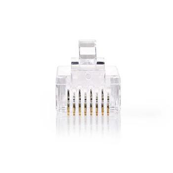 Nedis CCGP89331TP - Snadno Použitelný Síťový Konektor   RJ45 Zástrčka - Pro Lankové Kabely Cat 5 UTP   10 kusů   Průhledný