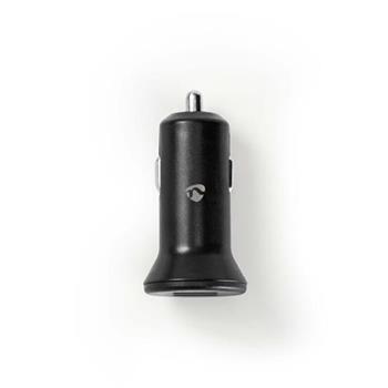 Nedis CCHAU480ABK - Nabíječka do Auta 12/24V | 4.8 A | 2 výstupy | USB-A | Černá barva