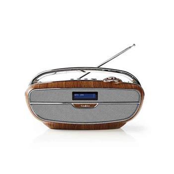 Nedis RDDB5300BN - Digitální Rádio DAB+ | 60 W | FM | Bluetooth® | Hnědá / Stříbrná