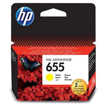 HP CZ112AE Ink Cart No. 655 Yellow Ink Cartridge EU Bliste pro DJ4615, 5525, 600str., Yellow