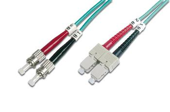 Digitus Fiber Optic Patch Cord, ST to SC Multimode 50/125 µ, Duplex Length 2m, Class OM3