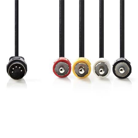 Nedis CAGP20400BK10 - Audiokabel DIN | DIN 5-pin Zástrčka - 4x RCA Zástrčka | 1 m | Černá barva