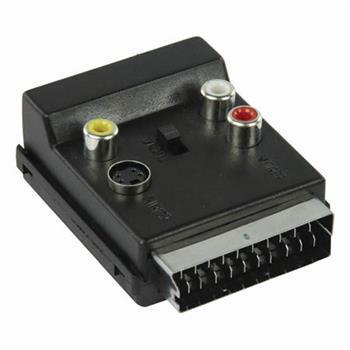 Nedis CVGP31903BK - Přepínatelný SCART Adaptér | SCART Zástrčka - SCART Zásuvka + S-Video Zásuvka + 3x RCA Zásuvka | Černá barva