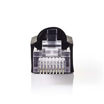 Nedis CCGP89350BK - Sada Síťových Konektorů   RJ45 Zástrčka + Ochranný Kryt Konektoru - Pro Pevné Kabely Cat 5 UTP   10 kusů   Čer