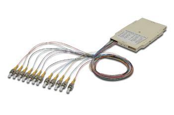 Digitus FO sestřihová kazeta s 12 barevnými pigtaily ST (UPC), MM OM3 50/125 µ, LSZH