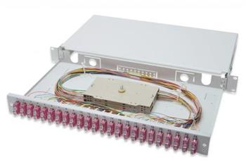 Digitus Fiber Optic Sliding Splice Box, 1U, Equipped 24x SC duplex, incl. M 25 Screw, Splice Cassette OM4 Color Pigtails, Adapter