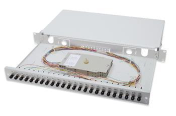 Digitus Fiber Optic Sliding Splice Box, 1U, Equipped 24x ST, incl. M 25 Screw, Splice Cassette Color Pigtails OM2, Adapter