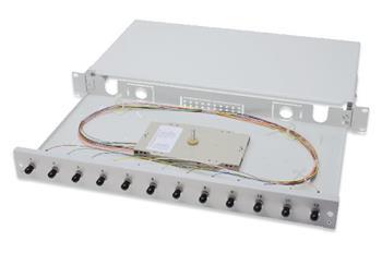 Digitus Fiber Optic Sliding Splice Box, 1U, Equipped 12x ST, incl. M 25 Screw, Splice Cassette Color Pigtails OM3, Adapter