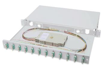 Digitus Fiber Optic Sliding Splice Box, 1U, Equipped 12x SC duplex, incl. M 25 Screw, Splice Cassette Color Pigtails OM3, Adapter