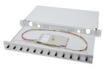 Digitus Fiber Optic Sliding Splice Box, 1U, Equipped 12x ST, incl. M 25 Screw, Splice Cassette Color Pigtails OM2, Adapter