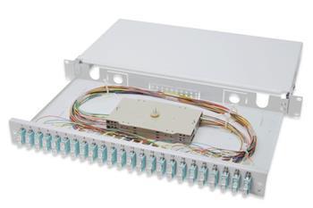 Digitus Fiber Optic Sliding Splice Box, 1U, Equipped 24x SC duplex, incl. M 25 Screw, Splice Cassette OM 3 Color Pigtails, Adapter