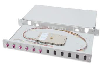 Digitus Fiber Optic Sliding Splice Box, 1U, Equipped 6x LC duplex, incl. M 25 Screw, Splice Cassette OM4 Color Pigtails, Adapter