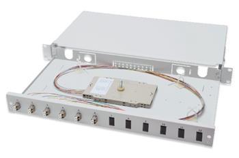 Digitus Fiber Optic Sliding Splice Box, 1U, Equipped 6x LC Duplex, incl. M 25 Screw, Splice Cassette OM2 Color Pigtails, Adapter
