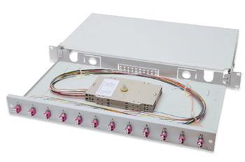 Digitus Fiber Optic Sliding Splice Box, 1U, Equipped 12x LC duplex, incl. M 25 Screw, Splice Cassette Color Pigtails OM4, Adapter