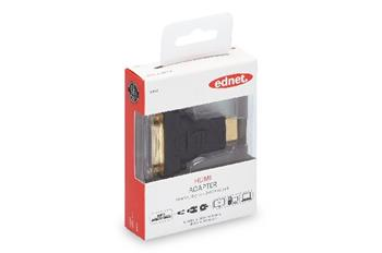 Ednet HDMI adapter, type A - DVI-I(24+5) M/F, Full HD, bl, gold