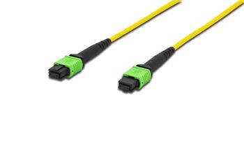 Digitus Fiber Optic Patchcord, MPO to MPO, Female OS2, Singlemode 09/125 µ, 1m, Method A Jacket: yellow, Housing: green