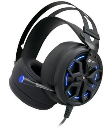 C-TECH herní sluchátka s mikrofonem Marsyas (GHS-11B), pro gaming, podsvícená, 3,5mm jack + USB, černo-modrá