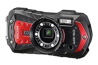 Ricoh WG-60 Red box (fotoaparát + plovací řemínek + neoprénové pouzdro)