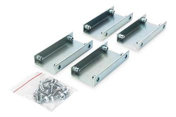 Connection set for Unique and Dynamic Basic racks, 4 pieces, galvanized, incl. screws steel brackets incl. screws