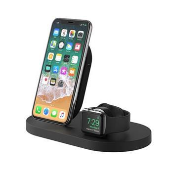 Belkin stojánek pro bezdrátové nabíjení Apple Watch + iPhone 8/8+/X/Xs/XsMax/Xr/11/11Pro/11ProMax + USB port - černý