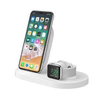 Belkin stojánek pro bezdrátové nabíjení Apple Watch + iPhone 8/8+/X/Xs/XsMax/Xr/11/11Pro/11ProMax + USB port - bílý